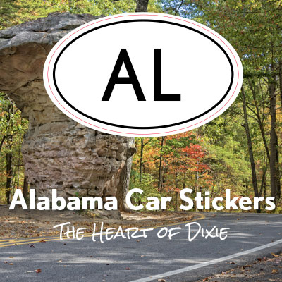 AL State of Alabama oval car sticker