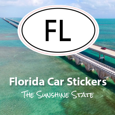 FL State of Florida oval car sticker