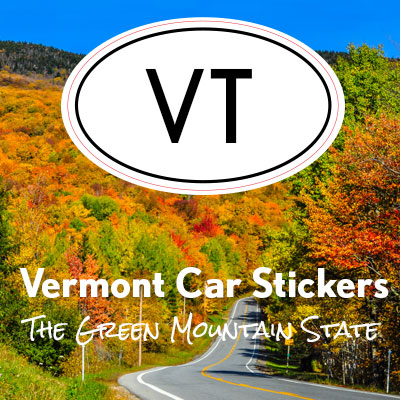 VT State of Vermont oval car sticker