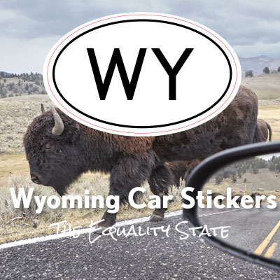 WY State of Wyoming oval car sticker