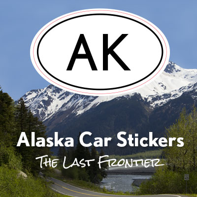 AK State of Alaska oval car sticker