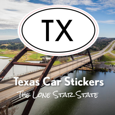 TX Great State of Texas oval car sticker