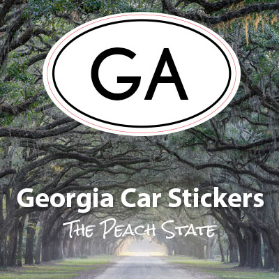 GA State of Georgia oval car sticker