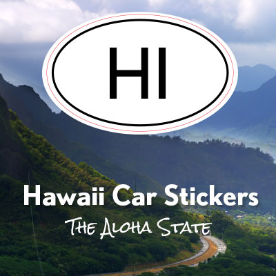 HI State of Hawaii oval car sticker