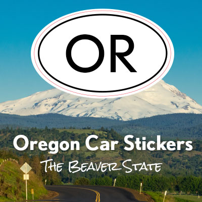 OR State of Oregon oval car sticker