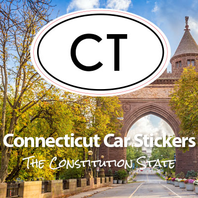 CT State of Connecticut oval car sticker