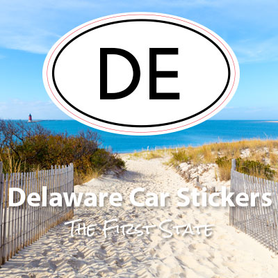 DE State of Delaware oval car sticker