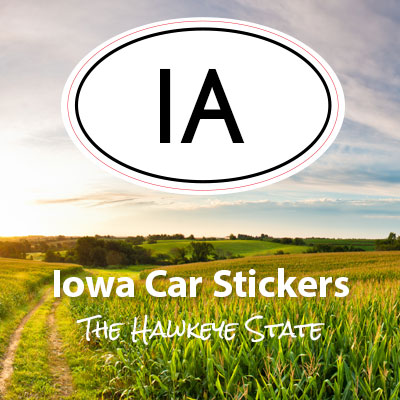 IA State of Iowa oval car sticker