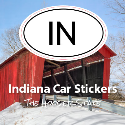 IN State of Indiana oval car sticker