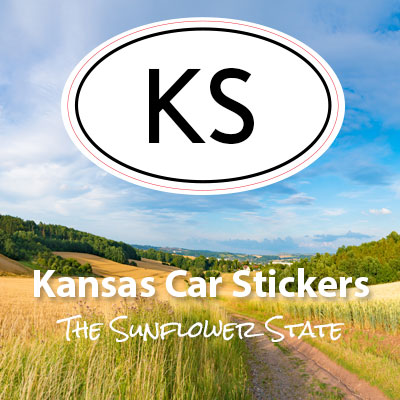 KS State of Kansas oval car sticker