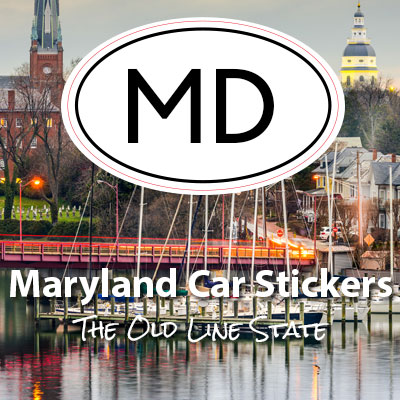 MD State of Maryland oval car sticker