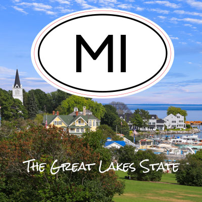 MI State of Michigan oval car sticker