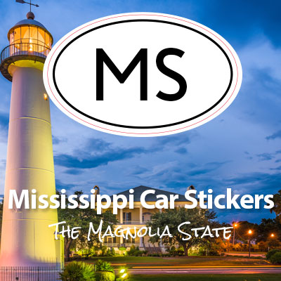 MS State of Mississippi oval car sticker