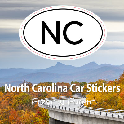 NC State of North Carolina oval car sticker