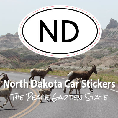 ND State of North Dakota oval car sticker