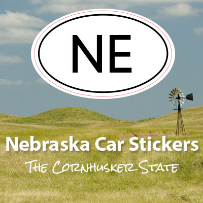 NE State of Nebraska oval car sticker