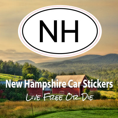 NH State of New Hampshire oval car sticker