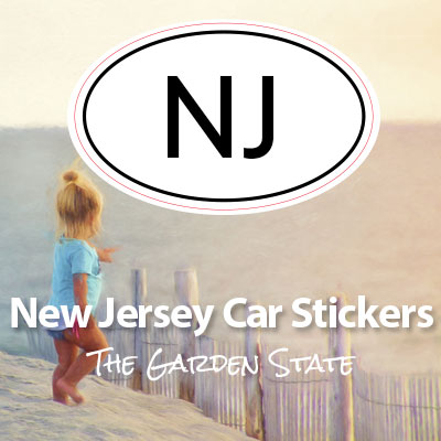 NJ State of New Jersey oval car sticker