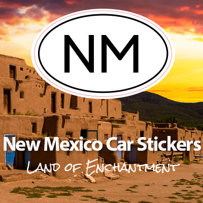 NM State of New Mexico oval car sticker