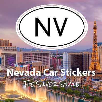 NV State of Nevada oval car sticker