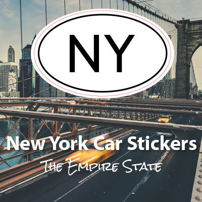 NY State of New York oval car sticker