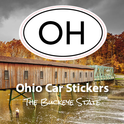 OH State of Ohio oval car sticker