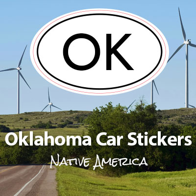 OK State of Oklahoma oval car sticker