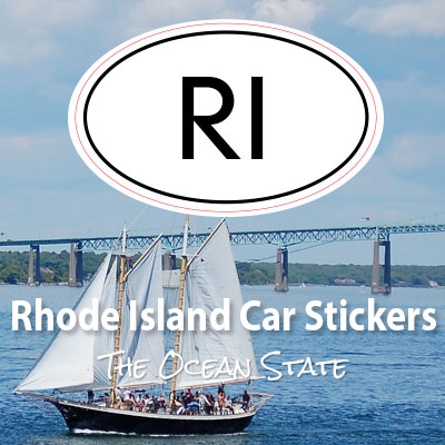 RI State of Rhode Island oval car sticker