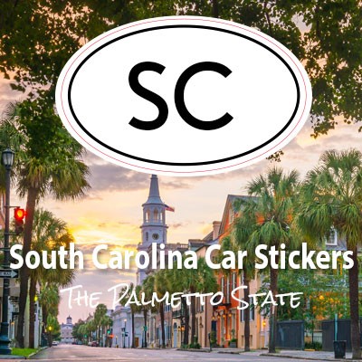 SC State of South Carolina oval car sticker