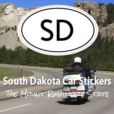 SD State of South Dakota oval car sticker