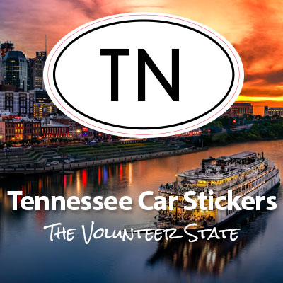 TN State of Tennessee oval car sticker