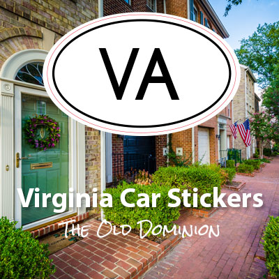 VA State of Virginia oval car sticker