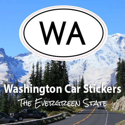 WA State of Washington oval car sticker