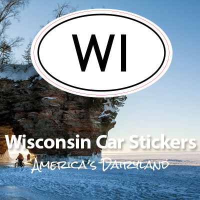 WI State of Wisconsin oval car sticker