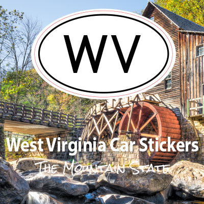 WV State of West Virginia oval car sticker