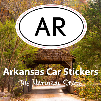 AR State of Arkansas oval car sticker