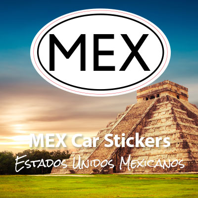 MEX Republic of Mexico oval car sticker