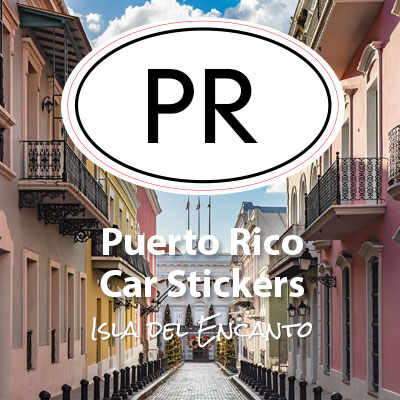 PR Commonwealth of Puerto Rico oval car sticker