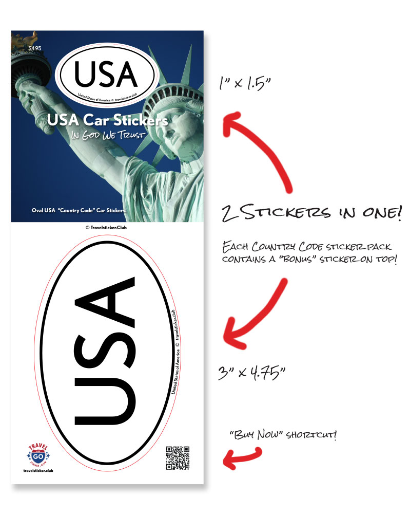 USA United States of America oval car sticker